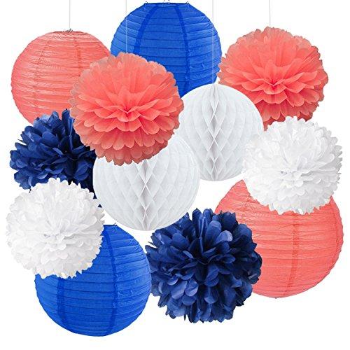12gemischte Royal Blau Coral Weiß Party Pompoms Aufhängen Papier Laterne Wabenbälle Nautical Themed Vintage Hochzeit Geburtstag Dusche Party Kinderzimmer Dekoration (Royal Blue-baby-dusche Dekorationen)