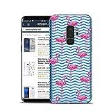 HULI Design Case Hülle für Samsung Galaxy S9 Plus Handy im Flamingo Design - Handyhülle aus TPU Silikon - Schutzhülle klar mit Animal Tier Muster - Transparent & Slim für Dein Smartphone