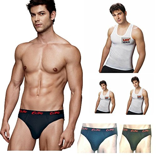 Euro & Lux Men's Cotton Brief with Combo Pack of 3 Breif & 3 Vest (Pack of 6)  available at amazon for Rs.418