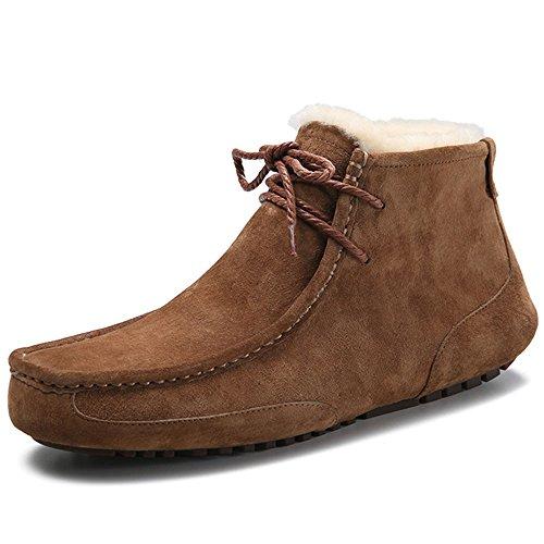 OZZEG Neige hiver masculine bottes mode en cuir bateau chaussures doublure en peau de mouton Café