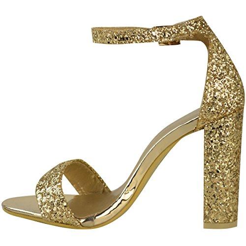 Donna A Blocco Tacchi Alti Cinturino Alla Caviglia Glitter Sandali Festa Ballo Scarpe Numeri Oro Metallizzato Glitter