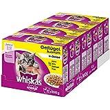 Whiskas Katzenfutter Junior für junge, heranwachsende Katzen - saftige Geflügel-Auswahl in Gelee / 48 Portionsbeutel (4 x 12 x 100 g)