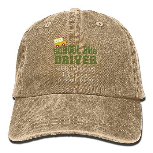 Hoswee Unisex Kappe/Baseballkappe, SCHL Bus Driver Safe Denim Hat Adjustable Womens Classic Baseball Hats