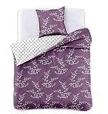 DecoKing 91944 Bettwäsche 135x200 cm mit 1 Kissenbezug 80x80 violett Blumenmuster Blumen Bettbezüge Microfaser Bettwäschegarnituren lila violet lilac pflaume plum weiß white Hypnosis Calluna
