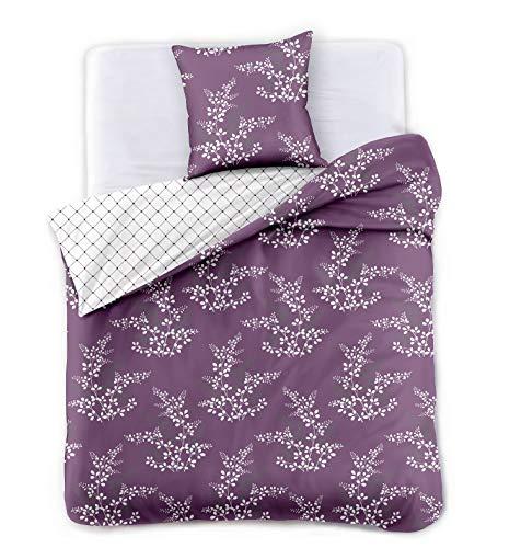 DecoKing Premium 91944 135x200 cm mit 1 Kissenbezug 80x80 violett Blumenmuster Blumen Bettbezüge Microfaser lila Pflaume weiß Hypnosis Calluna Bettwäsche, 135 x 200 cm