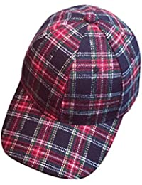 eb6486ae68c Familizo Women Men Couple Baseball Plaid Cap Unisex Snapback Hip Hop Flat  Hat
