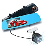 podofo 5.0 Full HD 1080p Dual Objektiv Dash Cam 170  Weitwinkel Anti-Glare Rückspiegel & Backup Kamera Fahrzeugreisen Video Recorder, Automatische Loop Recording, Superior Nachtsicht