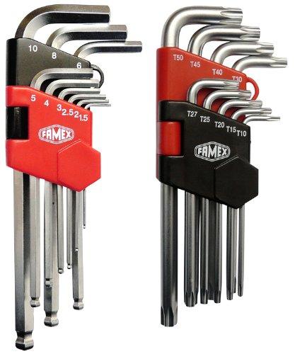 Preisvergleich Produktbild Famex Werkzeug Sparset Winkelschraubendreher für Sechskant Innensechskant- und für Torx-Schrauben, lang, 18-teilig, 10790
