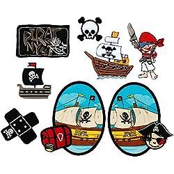 Mono-Quick 309 Toppe termoadesive, motivo: pirati, 8 pezzi, in poliestere, ricamate, 3,0 x 3,5 cm fino a 7,0 x 10,0 cm