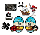 Mono-Quick Nummer 309 Aufbügelbilder Piraten Set, 8 teilig, Piratenmotive, Polyester, Stickerei, 3.0 x 3.5 cm bis 7.0 x 10.0 cm