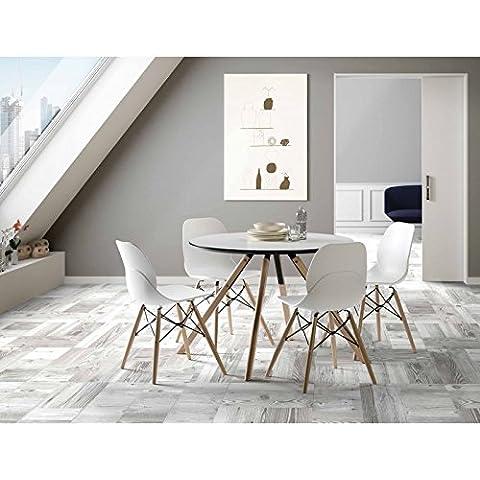 Conjunto de comedor mesa madera redonda 120cm y 4 sillas Rubik - GRIS/HAYA