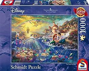 Schmidt Spiele Puzzle 59479-Puzzle Thomas Kinkade 1000Piezas Disney Sirenita, Ariel