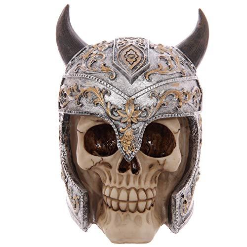 DAJIADS Figur Figuren Statue Statuen Statuette Viking Skull Von Valhalla Krieger In Der Gehörnten Helm Gehörnte Wikinger Häuptling Schwer Gepanzerte Krieger Schädel Gotische Figur Skulptur (Helm Gehörnter)