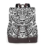 Women's Leather Backpack,Mayan Calendar End of The World Prophecy Mystery Cool Ancient Culture Design Print,School Travel Girls Ladies Rucksack