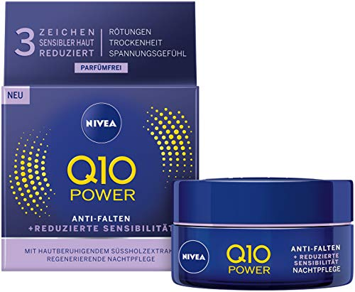 NIVEA Q10 Power Anti-Falten + Reduzierte Sensibilität Nachtpflege für jünger aussehende Haut, feuchtigkeitsspendende Nachtcreme, 2er Pack(2 x 50 ml) (Anti-falten-nacht-creme)
