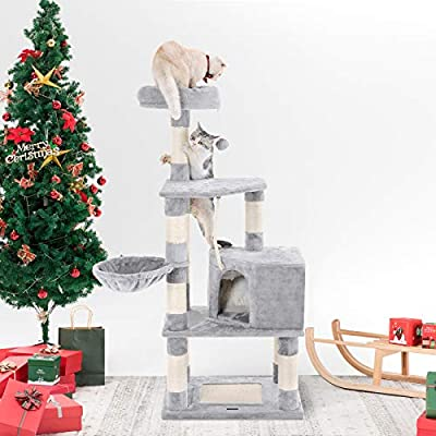 SONGMICS Cat Tree with Scratching Posts, Cat Tower with Condo and Basket, Kitten Furniture Activity Centre, Plush and Light Grey PCT60W from SONGMICS