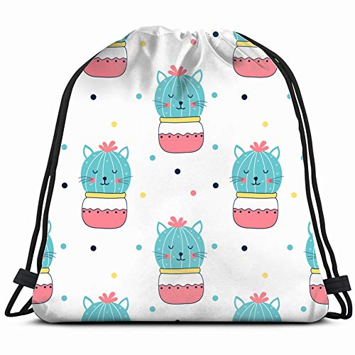 hand drawing cat cactus animals wildlife the arts Drawstring Backpack Gym Sack Lightweight Bag Water Resistant Gym Backpack for Women&Men for Sports,Travelling,Hiking,Camping,Shopping Yoga