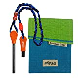 fesa Survival Gear Extra Long and Thick Magnesium Flint Fire Starter Paracord Rope