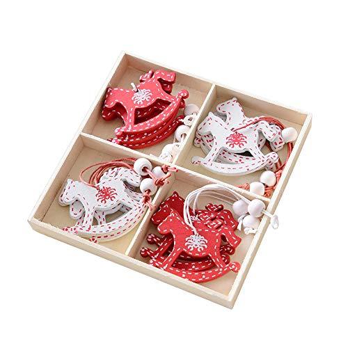 FeiliandaJJ 12Pcs Weihnachten Deko Anhänger Boxed Hölzerne Kreativität Hängende Verzierung für Babyzimmer Weihnachtsbaum Party Tür Wand Haus Deko Accessoires (C) - Boxed Garten