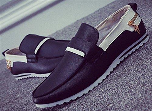 DADAWEN Hommes Loafers Casual Bateau Chaussures de Ville Flats Noir