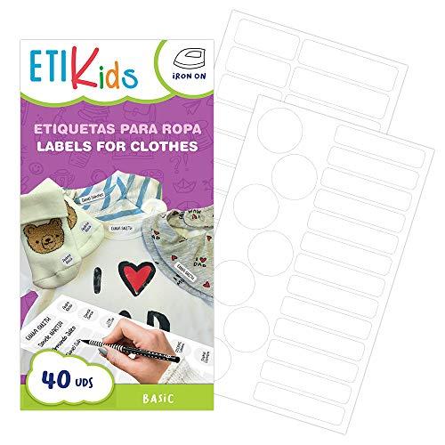 Anpassbare etikids 40 Etiketten für Kleidung (Basic) für die Kindergarten und Schule.