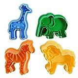 Da.Wa 4 Teiliges Tier Cookie Cutters Plätzchenformen Backformen Fondant Keks Ausstechformen Set mit Auswerfer