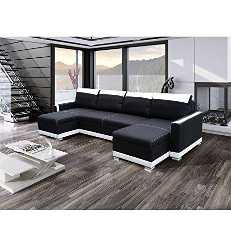 Canapé d'angle U convertible Funto Noir et blanc