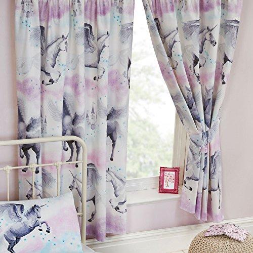 Tende con trama di polvere di stelle e unicorni, 168 x 183 cm, colore viola e azzurro