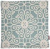 kingla Home cuadrado fundas de almohada 18x 18pulgadas Lino y Algodón Manta Decorativa Fundas de Almohada Diseño de flores retro de la turquesa fundas de cojín