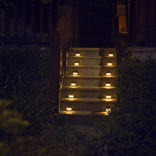 Solarlicht für Schritt Deck Stufe Mauer Veranda Zaun Garten Terrasse, warmes weißes Licht, wasserdicht, 6er Pack