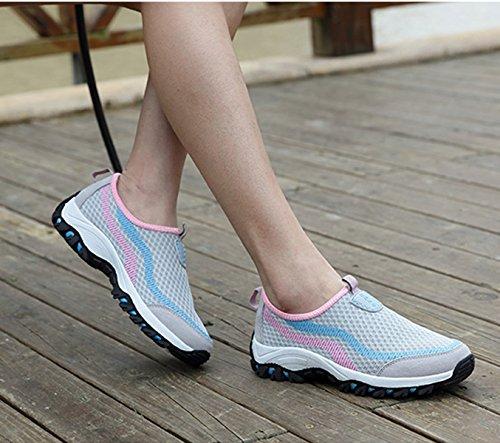 Unisex - Erwachsene Wanderschuhe Atmungsaktiv Mesh Einfach Slipper Leichtgewicht Anti-Rutsche Outdoorschuhe Grau-Pink