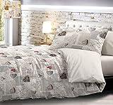 HomeLife Piumone Matrimoniale Invernale Made in Italy | Piumone Letto Autunno/Inverno Reversibile | Calda Trapunta Imbottita Anallergica | Piumino Shabby Chic | Beige/Grigio, 2 Piazze 250X250