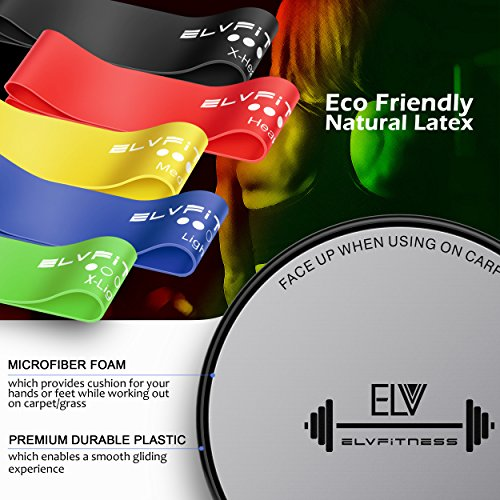 ELV-Resistance-Loop-Bands-and-Exercise-Sliders-Set-Home-Personal-Fitness-Equipment-5-Elastic-Bands-2-Gliding-Discs-Awesome-Core-Legs-Abs-Workouts-Physical-Therapy-Injury-Prevention