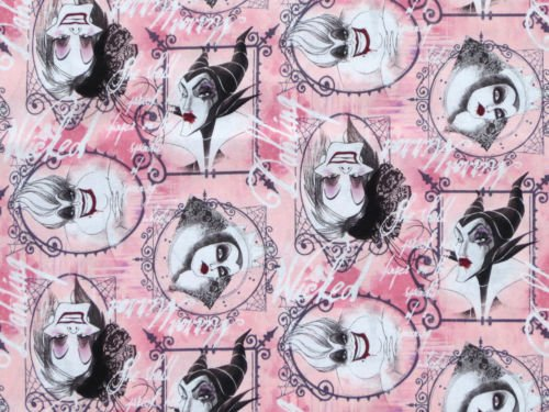 Fat Quarter Disney weiblich Villain Zeichen gerahmt, 100% Baumwolle Quilten Stoff
