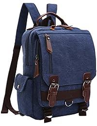 FEOYA Novedad Mochila de Lona Bolso de Pecho Bolsa Vintage Casual Multifuncional para Hombre Mujer Viaje Ocio Compra Escuela Universidad - Azul oscuro