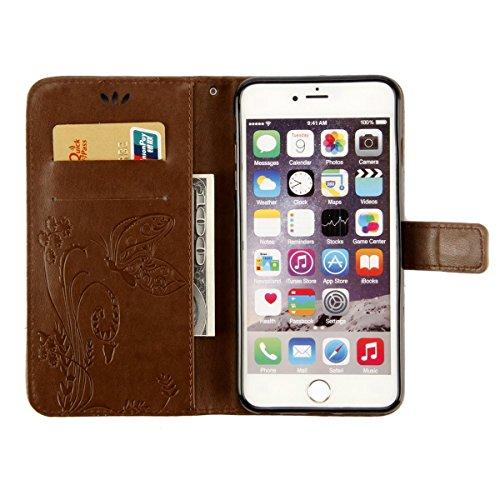 ISAKEN Custodia iPhone 6 Plus, Cover iPhone 6S Plus, Elegante borsa Custodia in Pelle Protettiva Flip Portafoglio Case Cover per Apple iPhone 6 Plus (6 5.5) / con Supporto di Stand / Carte Slot / Chi marrone chiaro