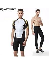 Verano transpirable de secado rápido de peso ligero cómodo hombres de manga corta jersey + relleno corto Ropa de ciclismo Conjunto de ropa de montar ropa deportiva ( Size : M )