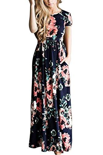 WIWIQS Frauen Art und Weise druckte langes Kleid Kurzschluss Hülsen Reich Blumen Fußboden Länge Kleid Blau 2XL