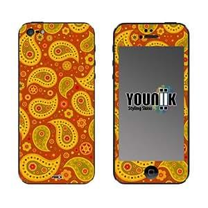 YOUNiiK Styling Skin Designfolie für iPhone 5 - (Lieferumfang = Skin für Vorder- und Rückseite) - Paisley rost