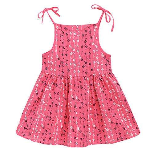 IZHH Kids Dresses, Toddler Kid Sleeveless Baby Girl Solid Flower Striped Princess Dress Summer Dress Clothes 1T-6T Vertical Bridge Adjustable Camisole Dress(Hot Pink,120)