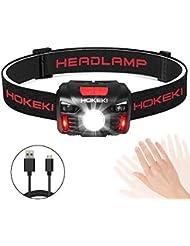 HOKEKI Lampe Frontale Rechargeable par USB, Lampe Frontale LED Super Lumineuse, légère et idéale pour l'escalade, Le Camping, la Promenade du Chien, la randonnée, la pêche, la Lecture de NUI