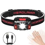 HOKEKI Head Torch Headlamp, USB Rechargeable Head Torch, Running Head Torch Led Super