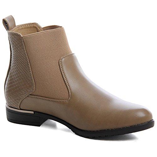 topschuhe24 586 Damen Chelsea Boots Stiefeletten Khaki