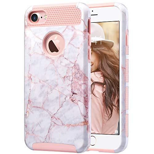 ULAK iPhone 7 Hülle, [Bunte Serie] Slim Hybrid Dual Layer [Kratzfest] Hard Back Cover [Shock Absorbent] TPU Stoäfänger Fall für iPhone 7 [4,7 Zoll], Roségold Marmo Silikon Iphone-fall