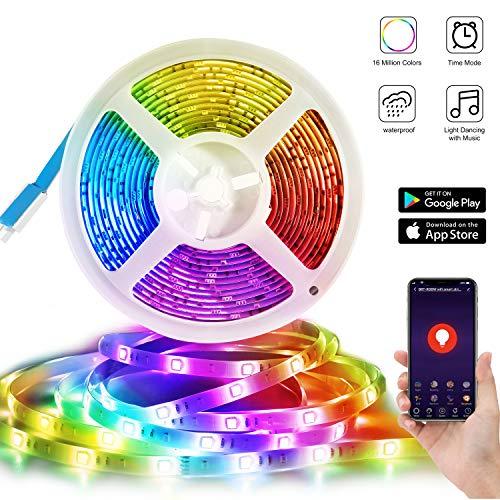 WIFI LED Lumières de Bande, Deknei Light Ruban LED Étanche 5050 5M SMD 240LED Smartphone APP...