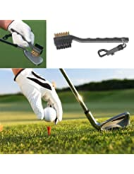 Hrph 2 alambres de latón Sided Nylon Golf Club Groove cepillo limpiar Kit Negro