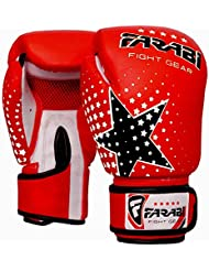 Kids Boxing gloves, Junior MMA, Muay thai Mitts, Junior punching bag mitts 6 Oz Red, by Farabi