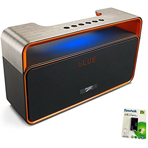 Portatile Bluetooth Stereo Altoparlante, con 2x5W Acustici Driver, Duo Subwoofer, FM Radio, LED Display, Handsfree Speakerphone, Micro SD scheda, USB e AUX-In Slot per Smart Phone, MP3, MP4, iPad, Tablet e più