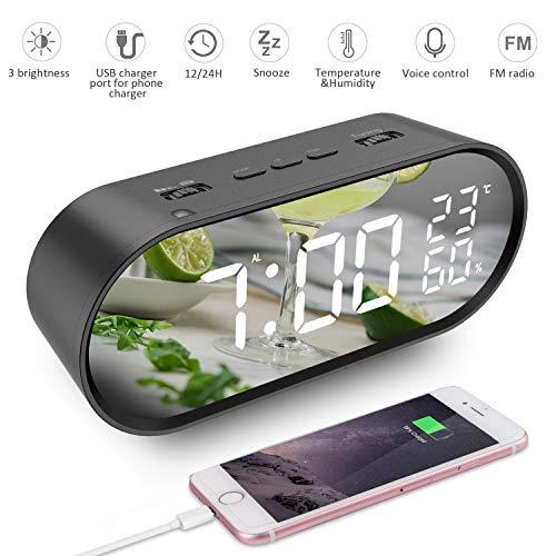 szdavsi LED Digital Alarma Inteligente Despertador Reloj Sonidos Alarma 6,5 Pulgadas con Radio FM USB Puertos de Carga Función Snooze Pantalla de Temperatura y Humedad para Dormitorio Oficina Cocina