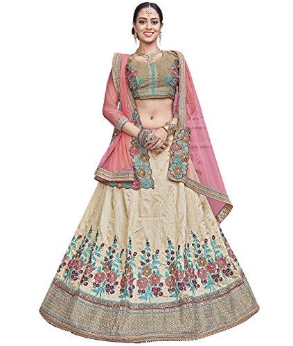 Indian Ethnicwear Bollywood Pakistani Wedding Off White Flare Lehenga Semi-stitched